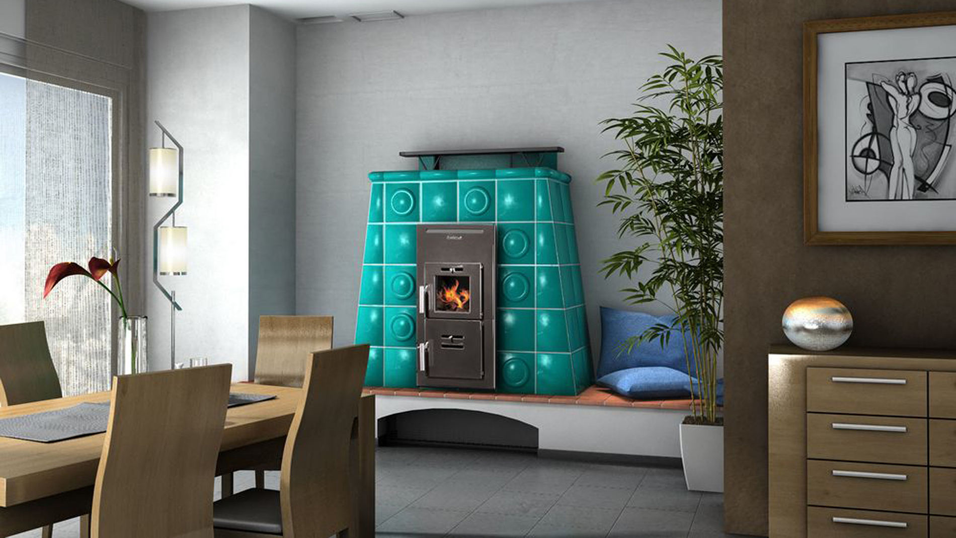 Warm-air tiled stove
